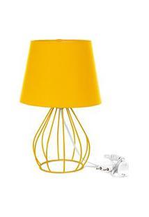 Abajur Cebola Dome Amarelo Com Aramado Amarelo