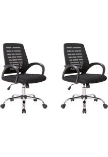 Conjunto Com 2 Cadeiras De Escritório Secretária Giratórias Light Preto