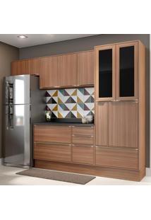 Cozinha Compacta Calábria 10 Portas Com Tampo E Rodapé Nogueira/Malt - Multimóveis