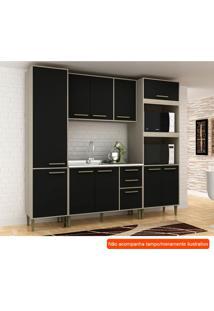 Cozinha Compacta Vitória 10 Pt 3 Gv Preta E Creme