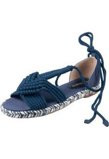 Sandália Rasteira Lona Canelada E Crochê Azul Marinho