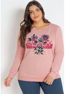 Casaco Moletinho Rosa Plus Size Com Estampa