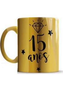 Caneca De Cerâmica Sude Presentes 15 Anos Dourada