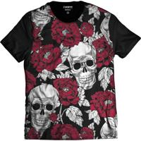 b5f4a32192 Camiseta Di Nuevo Caveira Mexicana Rosas Florida Swag Preta