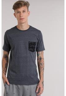 Camiseta Com Bolso Estampado De Andorinhas Cinza Mescla Escuro
