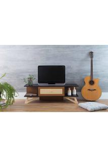 Rack Tv Baixo Stills Preto E Freijó Com Taeda 108X33,6X35,5Cm