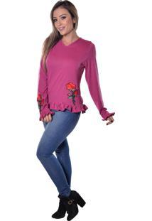 Blusa Carbella Manga Comprida Rosa Estampada Pink