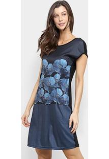 Vestido Mercatto Curto Manga Curta Reto - Feminino-Preto