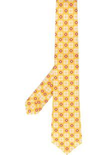 Kiton Gravata Floral - Amarelo