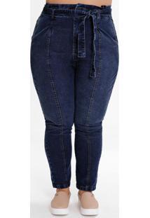 Calça Plus Size Clochard Jeans Escuro