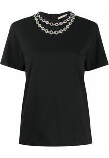 Christopher Kane Camiseta Com Cristais - Preto