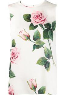 Dolce & Gabbana Tropical Rose Print Blouse - Branco