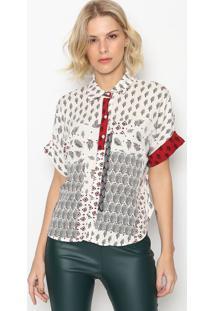 Camisa Folhagens Com Botãµes- Branca & Vermelha- Inteintens