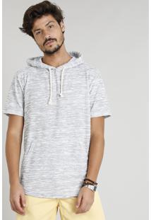 Camiseta Masculina Com Capuz E Bolso Canguru Manga Curta Cinza Mescla