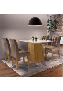 Sala De Jantar Completa Com Mesa E 4 Cadeiras Arezo Siena Móveis Ypê/Suede Animale Marrom