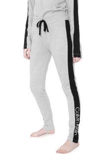 Calça Moletom Calvin Klein Underwear Slim Directional Lounge Cinza