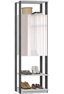 Guarda-Roupa Closet 2 Portas Com Espelho 70 Cm Branco/Espresso - Bentec