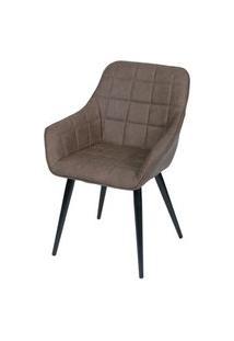 Cadeira Lounge Com Braco Courino Cafe E Costura Quadriculada - 50022 Café