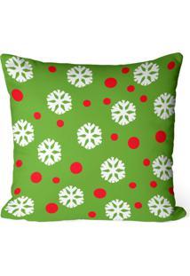 Capa De Almofada Love Decor Avulsa Decorativa Multi Flocos De Neve Verde