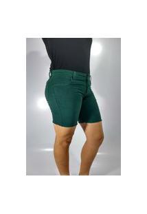 Bermuda Feminina De Sarja Rarus Jeans Meia Coxa Verde Escuro