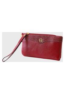 Bolsa Carteira Clutch Couro Mariart 264Mrt Vermelha