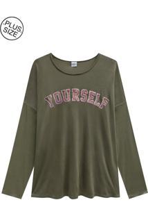 Blusa Lecimar Plus Em Viscose Leve Outono Inverno Verde Médio