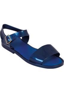 Sandália Rasteira Azul Com Fechamento Em Fivela