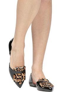 Sapatilha Shoestock Semi Aberta Franja Onça - Feminino