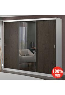 Guarda Roupa 3 Portas Com 1 Espelho 100% Mdf 1902E1 Branco/Málaga - Foscarini