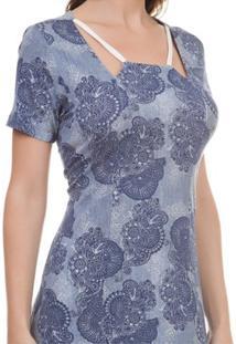Vestido Pau A Pique Estampado - Feminino-Azul