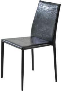 Cadeira Amanda Crocco 6606 Em Metal Pvc Preto - 32870 - Sun House