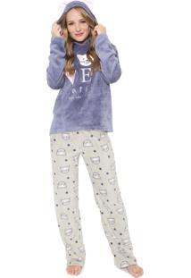 Pijama Any Any Love Cats Azul/Cinza