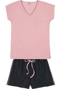 Pijama Em Malha Botonê E Shorts Com Amarração