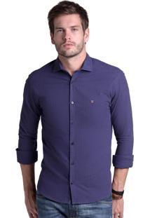 Camisa Buckman Casual Fio Tinto Listras Azul Marinho