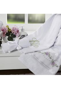 Jogo De Toalhas Bordadas Casaborda Bouquet 5 Peças Branco