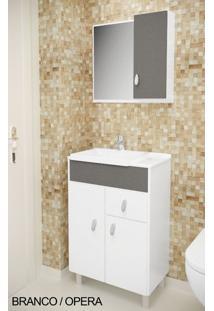 Gabinete Para Banheiro Kit Tuon - Balcão + Espelheira + Marmorite - Branco Com Ópera