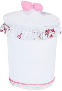 Lixeira Plástica Batistela Baby Babado Florido Cristal Branco