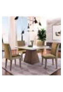 Conjunto De Mesa De Jantar Luna Com 4 Cadeiras Estofadas Grécia Suede Off White E Café