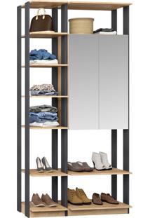 Closet 2 Portas Espelhadas 9007 Carvalho/Espresso - Bentec