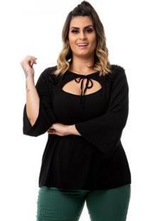 Blusa Em Viscolycra Com Pelinho Plus Size Feminina - Feminino-Preto