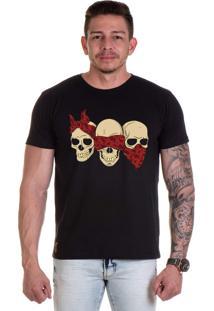 Camiseta Lucas Lunny T Shirt Gola Redonda Caveiras Preta