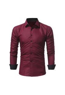 Camisa Social Masculina Slim 1399-5230 - Vinho