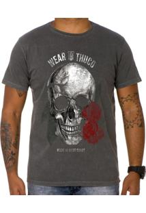Camiseta Use Thuco Pink Skull Cinza