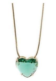 Colar Semijoia Cristal Coração Com Banho Em Ouro 18K - Feminino-Verde