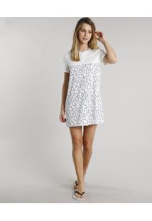 Camisola Feminina Estampada Floral Com Recorte Botões Manga Curta Off White