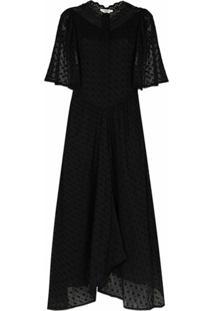 Isabel Marant Étoile Vestido Longo Turin De Algodão Com Bordado - Preto