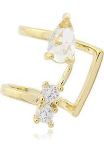 Brinco Viva Jolie Piercing Pedrinhas Cristal Ouro