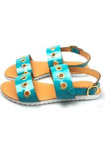 Sandalia Love Shoes Flat Bed Tratorada Ilhós Verniz Azul Turquesa