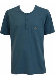 Camiseta Pau A Pique Botões - Masculino-Azul Petróleo