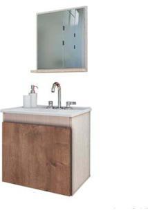 Gabinete De Banheiro Com Lavatório E Espelheira Paris 500 45X48,2X34Cm Rovere E Wengue Gaam